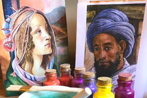 Two colorful portrait paintings with glass containers of colored paint surrounding a mortar and pestle