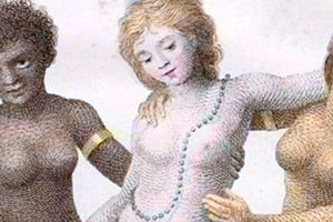 """Detail of the engraving """"Europe Supported By Africa and America"""" by William Blake, 1796"""