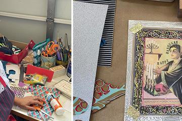 Left: Katie Lipsitt; Right: Collage art by Katie Lipsitt