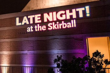 Skirball building with Late Night in lights
