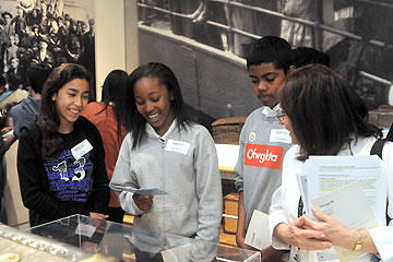 Students looking at an exhibit