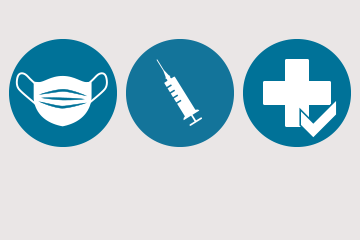 Wear mask icon and vaccination icon