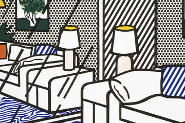 Roy Lichtenstein, Wallpaper with Blue Floor Interior (detail), 1992. Collection of the Jordan Schnitzer Family Foundation. © Estate of Roy Lichtenstein/Gemini G.E.L.