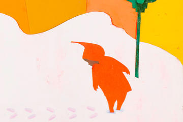 Collage illustration by Ezra Jack Keats showing a boy in red coat with hood looking at his footprints in the snow