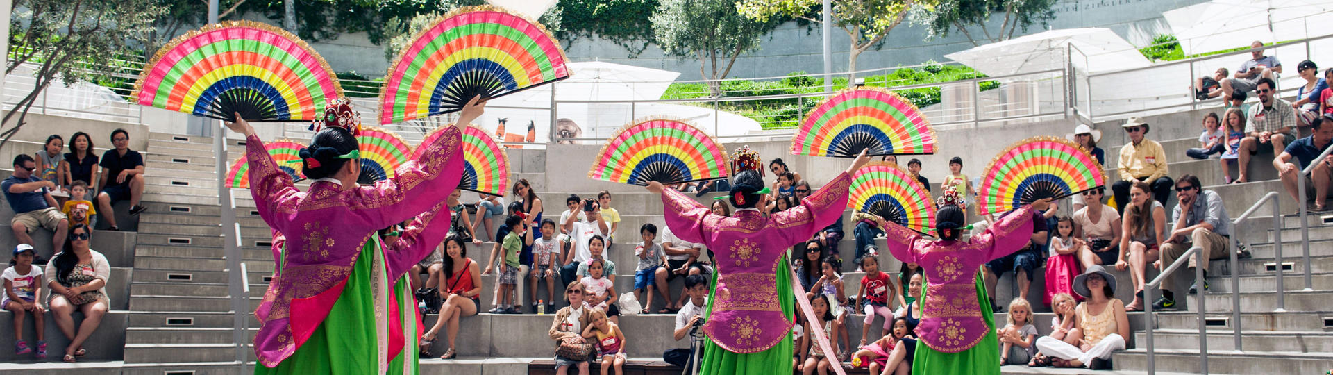 Dancers performing in amphitheater