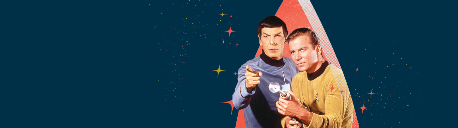 kirk and spock on blue background