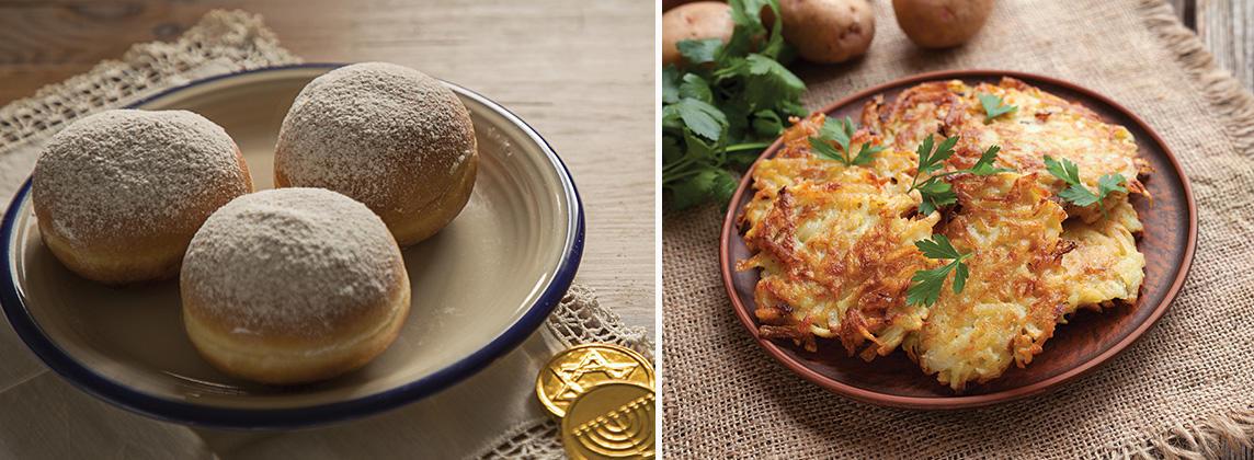 Left: Sufganiyot (jelly donuts); Right: Potato latkes