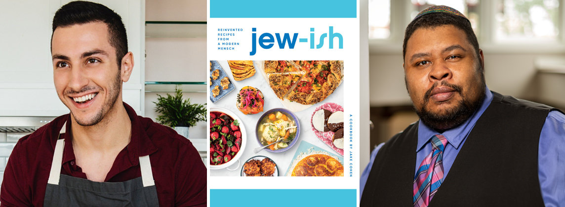 """Left to right: Jake Cohen, """"Jew-ish"""" book cover, Michael Twitty"""