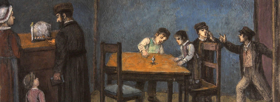 Father, mother and young daughter lighting Hanukkah candles while two boys play with a dreidel at a table  and two other boys stand behind them