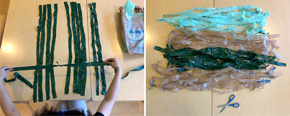 Tying the plastic strips together