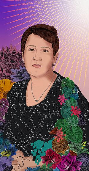 Stephanie Mercado portrait of Jerusha M., Human Resources, Grocery Store