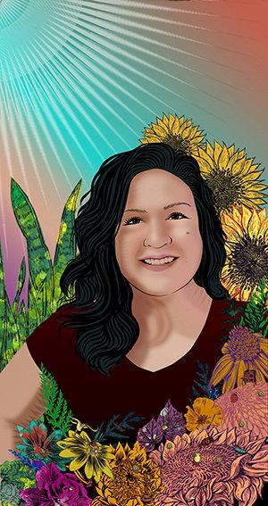 Stephanie Mercado portrait of Monica Vielman, Kitchen Team Member, Skirball Cultural Center