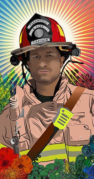 stephanie Mercado portrait of Riaz Ali, Fire Captain and Paramedic