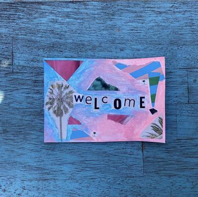 Handmade welcome postcard